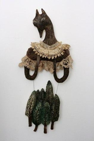textile art wolf
