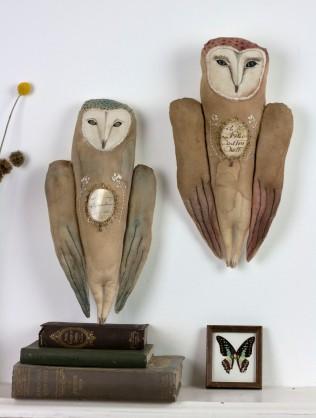 textile art owl